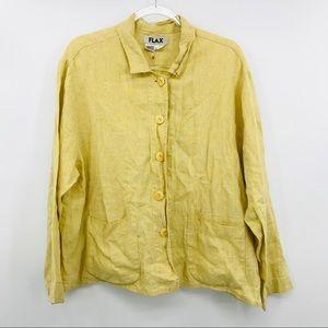 Flax Medium 100% linen yellow button long sleeve